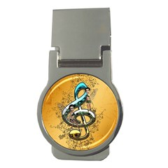 Music, Clef With Fairy And Floral Elements Money Clips (round)  by FantasyWorld7