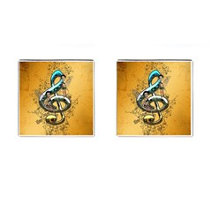 Music, Clef With Fairy And Floral Elements Cufflinks (square) by FantasyWorld7