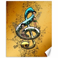 Music, Clef With Fairy And Floral Elements Canvas 16  X 20   by FantasyWorld7
