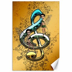 Music, Clef With Fairy And Floral Elements Canvas 20  X 30   by FantasyWorld7