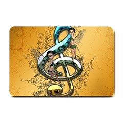 Music, Clef With Fairy And Floral Elements Small Doormat  by FantasyWorld7