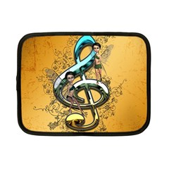 Music, Clef With Fairy And Floral Elements Netbook Case (small)  by FantasyWorld7