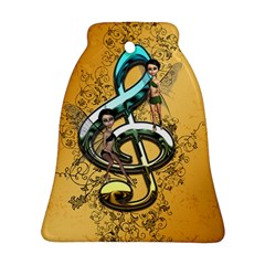 Music, Clef With Fairy And Floral Elements Bell Ornament (2 Sides)