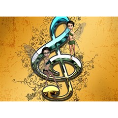 Music, Clef With Fairy And Floral Elements Birthday Cake 3D Greeting Card (7x5)