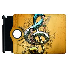 Music, Clef With Fairy And Floral Elements Apple Ipad 2 Flip 360 Case by FantasyWorld7
