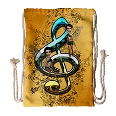 Music, Clef With Fairy And Floral Elements Drawstring Bag (large) by FantasyWorld7
