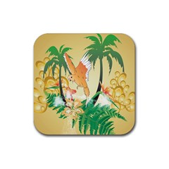 Funny Budgies With Palm And Flower Rubber Square Coaster (4 Pack)  by FantasyWorld7