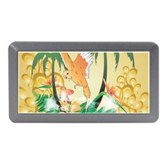 Funny Budgies With Palm And Flower Memory Card Reader (Mini) by FantasyWorld7