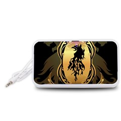 Lion Silhouette With Flame On Golden Shield Portable Speaker (white)  by FantasyWorld7