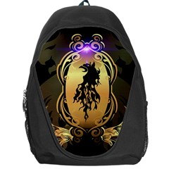 Lion Silhouette With Flame On Golden Shield Backpack Bag by FantasyWorld7