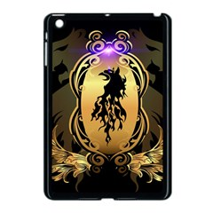 Lion Silhouette With Flame On Golden Shield Apple Ipad Mini Case (black) by FantasyWorld7