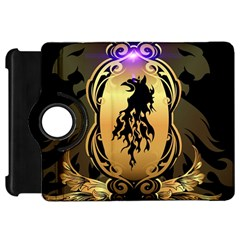 Lion Silhouette With Flame On Golden Shield Kindle Fire HD Flip 360 Case by FantasyWorld7