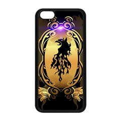 Lion Silhouette With Flame On Golden Shield Apple Iphone 5c Seamless Case (black) by FantasyWorld7