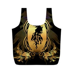 Lion Silhouette With Flame On Golden Shield Full Print Recycle Bags (m)