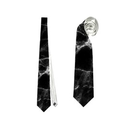 Black Marble Stone Pattern Neckties (two Side)  by Dushan