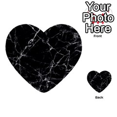 Black Marble Stone Pattern Multi Purpose Cards (heart)  by Dushan