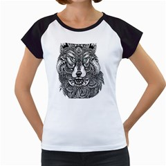 Intricate elegant wolf head illustration Women s Cap Sleeve T by Dushan