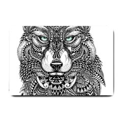 Intricate Elegant Wolf Head Illustration Small Doormat  by Dushan