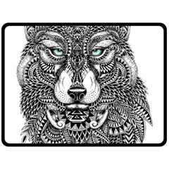 Intricate Elegant Wolf Head Illustration Fleece Blanket (large)  by Dushan