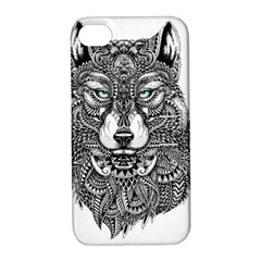 Intricate elegant wolf head illustration Apple iPhone 4/4S Hardshell Case with Stand by Dushan