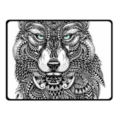 Intricate elegant wolf head illustration Double Sided Fleece Blanket (Small)  by Dushan