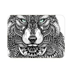 Intricate Elegant Wolf Head Illustration Double Sided Flano Blanket (mini)  by Dushan
