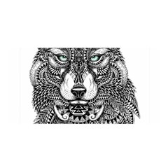 Intricate Elegant Wolf Head Illustration Satin Wrap by Dushan