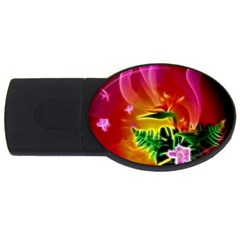 Awesome F?owers With Glowing Lines USB Flash Drive Oval (2 GB)  by FantasyWorld7