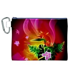 Awesome F?owers With Glowing Lines Canvas Cosmetic Bag (xl)  by FantasyWorld7