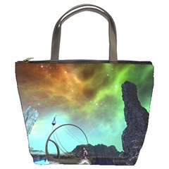 Fantasy Landscape With Lamp Boat And Awesome Sky Bucket Bags by FantasyWorld7