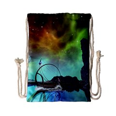 Fantasy Landscape With Lamp Boat And Awesome Sky Drawstring Bag (Small)