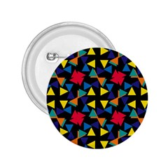 Colorful Triangles And Flowers Pattern 2 25  Button by LalyLauraFLM