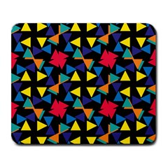 Colorful Triangles And Flowers Pattern Large Mousepad by LalyLauraFLM