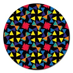 Colorful Triangles And Flowers Pattern Magnet 5  (round) by LalyLauraFLM