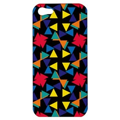 Colorful Triangles And Flowers Pattern Apple Iphone 5 Hardshell Case by LalyLauraFLM