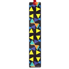 Colorful Triangles And Flowers Pattern Large Book Mark by LalyLauraFLM