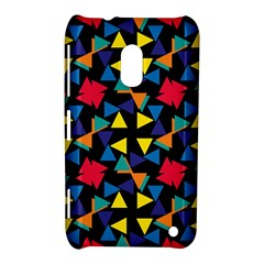 Colorful Triangles And Flowers Pattern Nokia Lumia 620 Hardshell Case by LalyLauraFLM