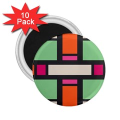 Rectangles Cross 2 25  Magnet (10 Pack) by LalyLauraFLM