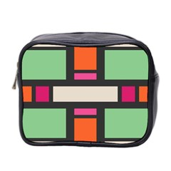 Rectangles Cross Mini Toiletries Bag (two Sides) by LalyLauraFLM