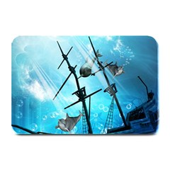 Underwater World With Shipwreck And Dolphin Plate Mats by FantasyWorld7