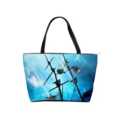 Underwater World With Shipwreck And Dolphin Shoulder Handbags by FantasyWorld7