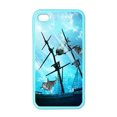 Underwater World With Shipwreck And Dolphin Apple Iphone 4 Case (color) by FantasyWorld7