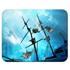 Underwater World With Shipwreck And Dolphin Double Sided Flano Blanket (medium)  by FantasyWorld7