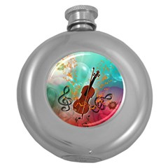 Violin With Violin Bow And Key Notes Round Hip Flask (5 oz) by FantasyWorld7