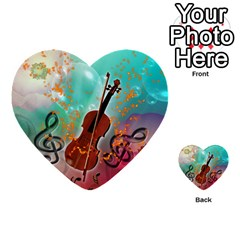 Violin With Violin Bow And Key Notes Multi Purpose Cards (heart)  by FantasyWorld7