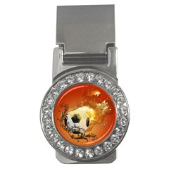Soccer With Fire And Flame And Floral Elelements Money Clips (cz)  by FantasyWorld7
