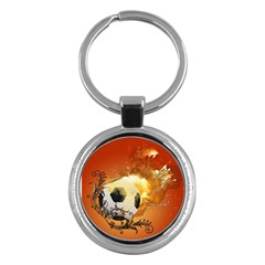 Soccer With Fire And Flame And Floral Elelements Key Chains (round)  by FantasyWorld7