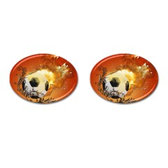 Soccer With Fire And Flame And Floral Elelements Cufflinks (oval) by FantasyWorld7