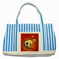 Soccer With Fire And Flame And Floral Elelements Striped Blue Tote Bag  by FantasyWorld7