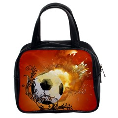 Soccer With Fire And Flame And Floral Elelements Classic Handbags (2 Sides) by FantasyWorld7